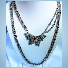 Marty Schiff Signed Jeweled Butterfly Layered Necklace
