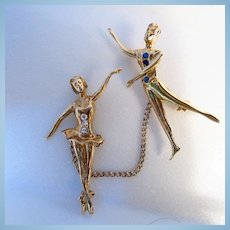 Art Deco Stylized Sterling Vermeil Male Female Stylized Dancers Chatelaine Pins