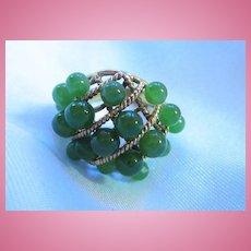 Gorgeous Jade Vermeil Sterling Ring