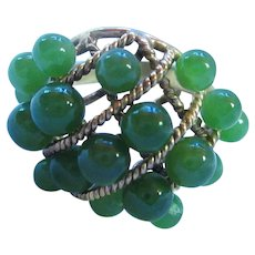 Gorgeous Jade Vermeil Sterling Ring