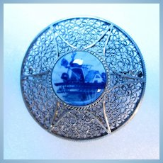 Early Delft Sterling Brooch Hand Signed