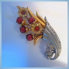 Gorgeous Art Deco Reticulated Gold Silver color Cranberry Moonglow Cabochon Floral Statement Brooch