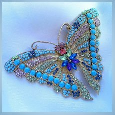 Vibrant Large Butterfly Figural Brooch Pin