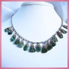 Art Deco Dangling Genuine Jade Nephrite Natural Stone Fancy Link Necklace