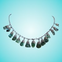 Art Deco Dangling Genuine Jade Nephrite Natural Stone Fancy Link Necklace