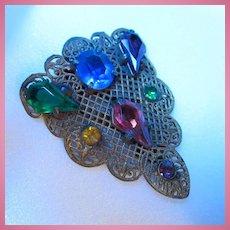 Art Deco Czech Jeweled Dress Clip Kite Crystals