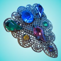 Czech Jeweled Dress Clip Kite Crystals