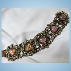 Stunning Chunky Wide fx Opal Dragons Breath fx Pearls Gold plate Statement Bracelet