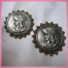 Art Nouveau Lady Two Matching Buttons