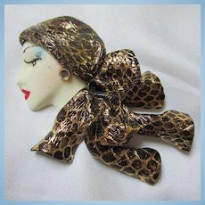1980s Fashion Lady Gold Black Scarf Polymer Clay Brooch