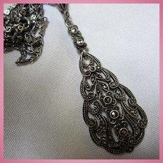 Art Deco Sterling Silver Marcasite Lavalier Sparkling Pendant Necklace