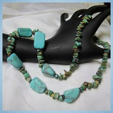 Stunning Genuine Turquoise Southwestern Sterling Toggle Necklace