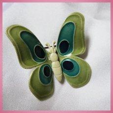 West Germany Signed Enamel Butterfly Figural Brooch Pin