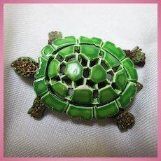 1960s Turtle Figural Enamel Brooch Pin