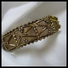 Fabulous Hand Work Raised Mesh Twisted Wire Gold Plate Bracelet