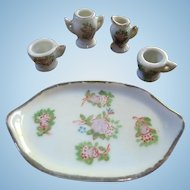 Occupied Japan Doll House Small Tea Set Tray Cups Sugar Creamer