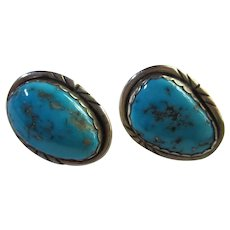 Native American Southwest Genuine Turquoise Sterling Silver Earrings