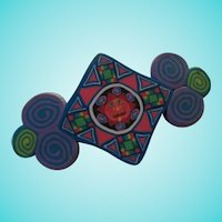 Wonderful Polymer Clay Sun Abstract Colorful Brooch