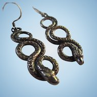 Antique Victorian Etched Snake Sterling Silver Earrings