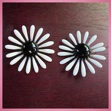 Huge 1960s Enamel Flower Power Black White Earrings