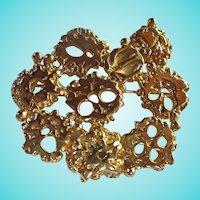 Napier Signed Modernist Brutalist Gold Plated Brooch