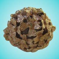 Beautiful Sheiffield Swiss Made Modernist Textured Flower Top Ring Watch