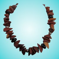 Mid Century Natural Polished Triangular Wood Necklace