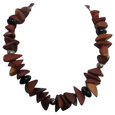 Mid Century Natural Polished Triangular Wood Necklace