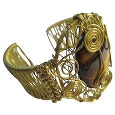 Handmade Huge Tigers Eye Gold Plated Wire Modernist Statement Bracelet