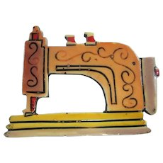 Signed Germany Vintage Sewing Machine Colorful Figural Brooch