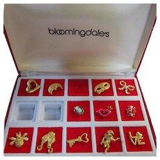 Bloomingdales 1970s Figural Tack Pins Original Box