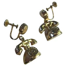 Kitchy Old Fashion Telephone Moving Dial Figural Earrings 1940s