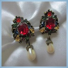 Stunning Jeweled Crystal Rhinestone Fx Pearl Drop Signed Clip Earrings