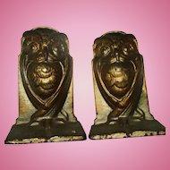 Antique Art Nouveau Wise Owl Cast Iron Bronze Color Bradley Hubbard Bookends