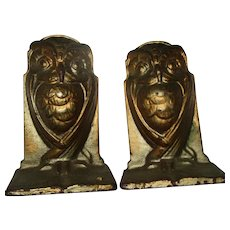Antique Art Nouveau Wise Owl Cast Iron Bronze Color Bradley Hubbard Bookends