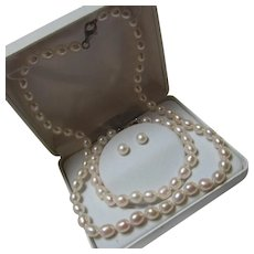 Genuine Cultured Potato Pearls Necklace Bracelet Earrings Sterling Silver Set