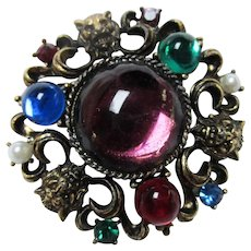 Gorgeous Gargoyles Jeweled Glass Cabochons fx Pearls Brooch Pin