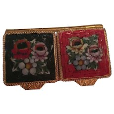 Double Micro Mosaic Floral Pill Box Signed Italy for Lord and Taylor