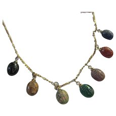 Genuine Stone Scarab Vintage Egyptian Revival Necklace