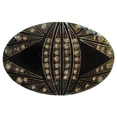 Pierre Bex Art Deco Sparkling Enamel Trombone Clasp France Vintage 1940s Brooch Pin