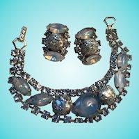 Dazzling Blue Confetti Art Glass Frosted Crystal Rhinestones Bracelet Earrings Demi Set