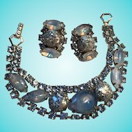 Dazzling Blue Confetti Art Glass Frosted Crystal Rhinestones Bracelet Earrings Demi Set
