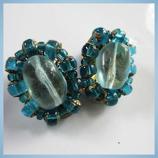 Miriam Haskell Signed Hand Blown Aquamarine Glass Centers Deeper Teal Blue Frame Clip Earrings