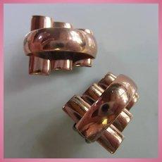 Renoir Signed Art Deco Modernist Copper Clip Earrings
