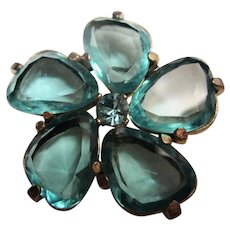 Spinx of England Signed Open Back Aquamarine Faceted Glass Brooch