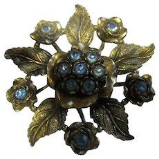 Little Nemo Signed Art Deco Cornflower Blue Rhinestone Huge Flower Brooch