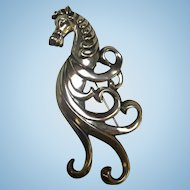 Fabulous Art Deco Stylized Horse Signed Lang Brooch