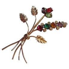 Coro Craft Sterling Vermeil Colorful Swarovski Crystal Flower Figural Brooch Mint