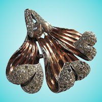 Trifari  Alfred Philippe Orchid Vermeil Sterling Art Deco Fur Clip