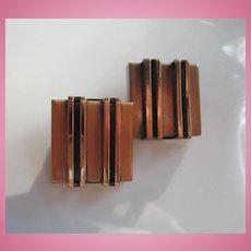 Renoir Signed Copper Modernist Clip Earrings